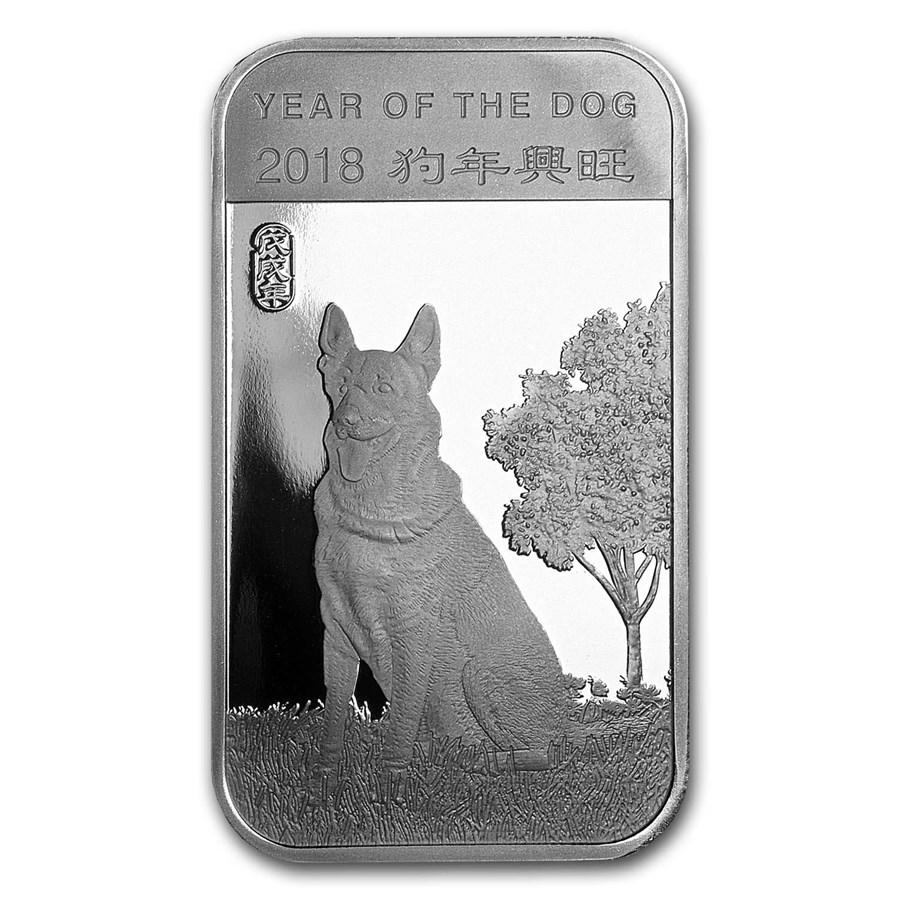 1 oz Silver Bar - APMEX (2018 Year of the Dog)