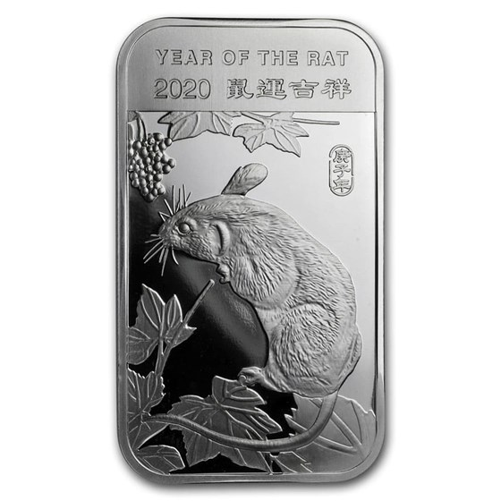 1 oz Silver Bar - APMEX (2020 Year of the Rat)