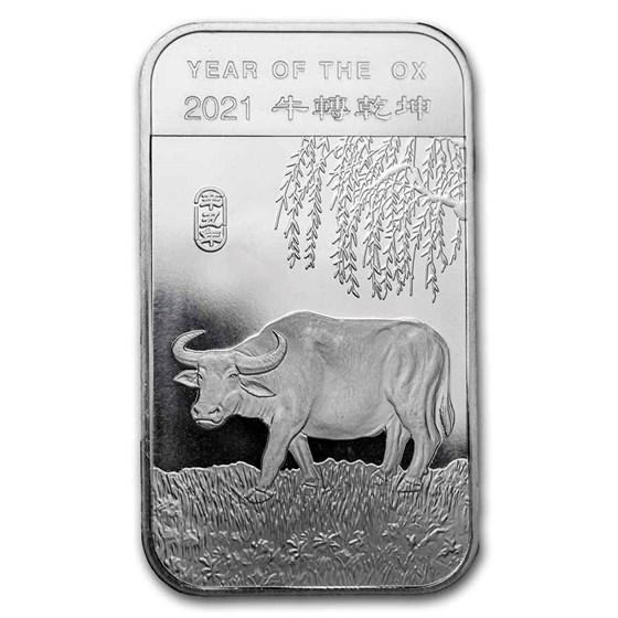 1 oz Silver Bar - APMEX (2021 Year of the Ox)