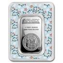 1 oz Silver Bar - APMEX (w/Festive Holiday Lights Card, In TEP)