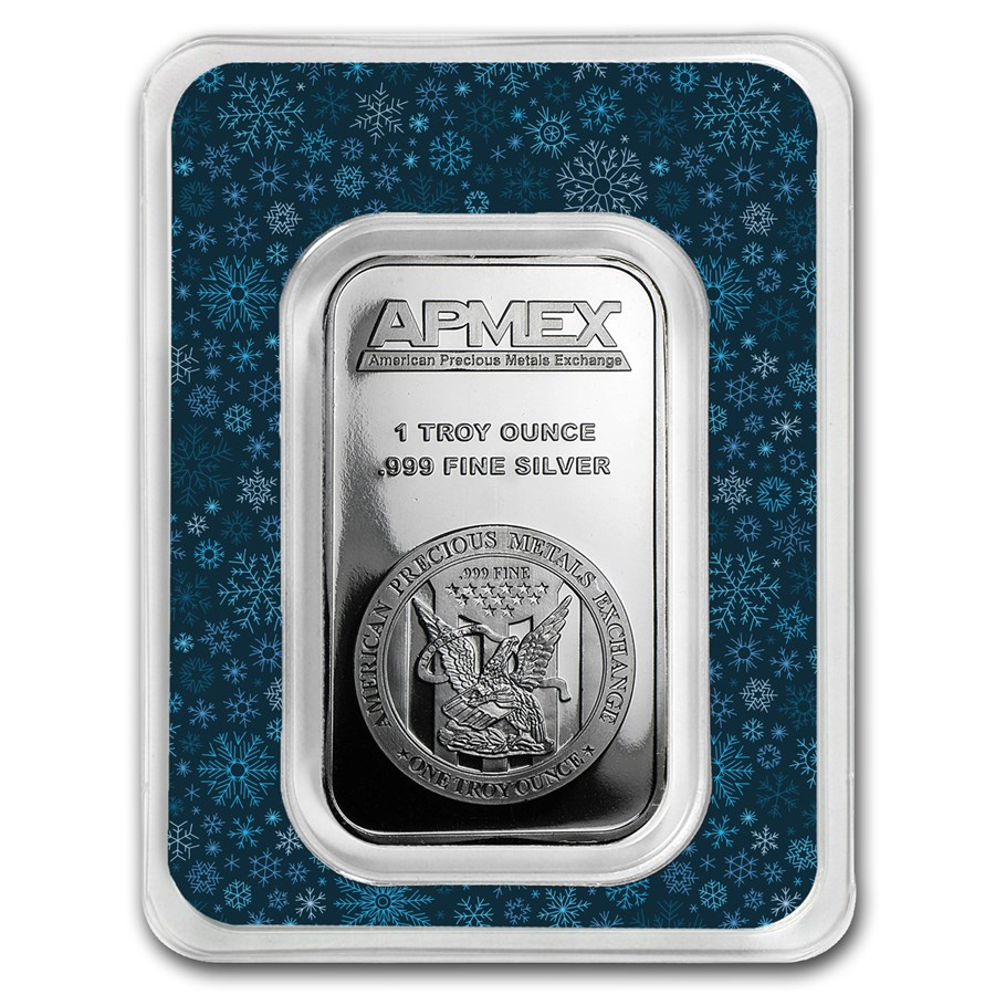 1 oz Silver Bar - APMEX (w/Snowflakes Card, In TEP)