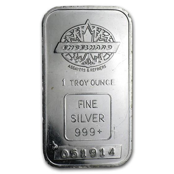 1 oz Silver Bar - Engelhard (Maple, Smooth, No Border)