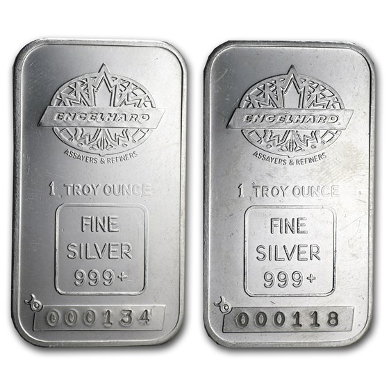 1 oz Silver Bar - Engelhard (Tall/Maple/Smooth/Low Serial #)