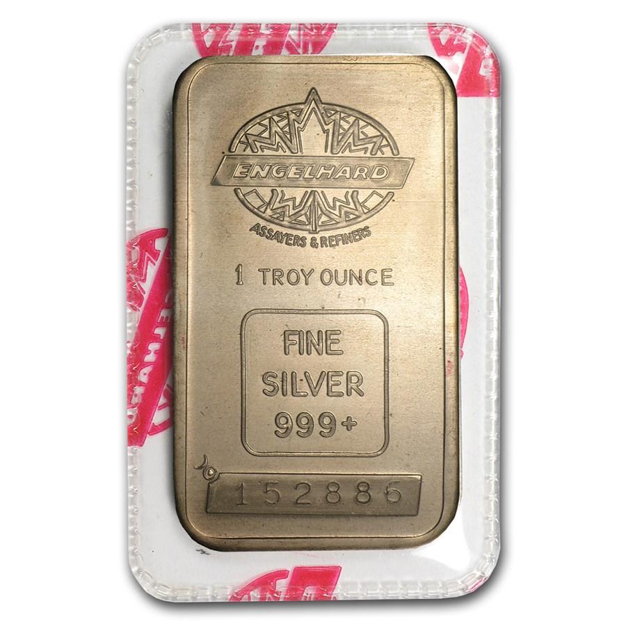 1 oz Silver Bar - Engelhard (Tall/Maple/Smooth/Sealed)