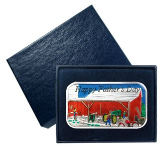 1 oz Silver Bar - Father's Day Enameled (w/Gift Box & Capsule)