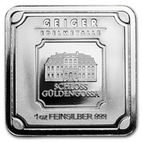 1 oz Silver Bar - Geiger Edelmetalle (Original Square Series)