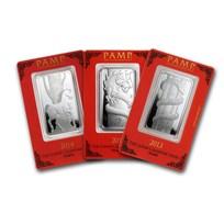 1 oz Silver Bar - PAMP Suisse (Lunar, Random Design)