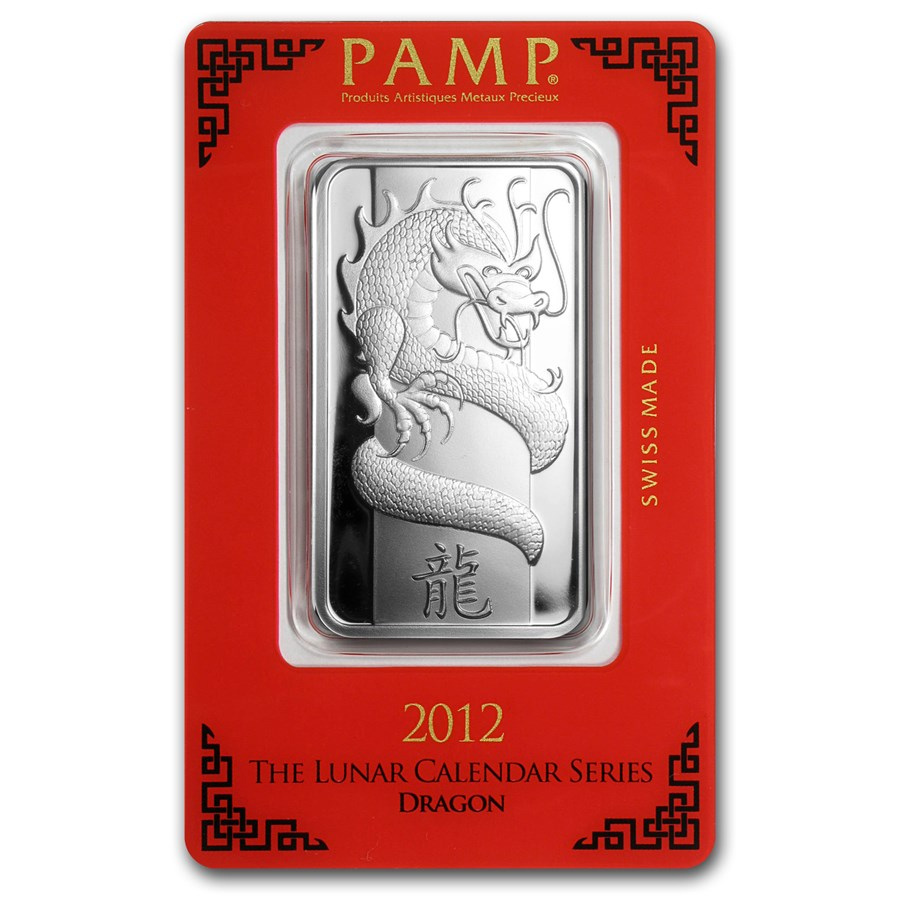 1 oz Silver Bar - PAMP Suisse (Year of the Dragon)