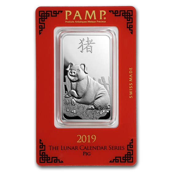1 oz Silver Bar - PAMP Suisse (Year of the Pig)