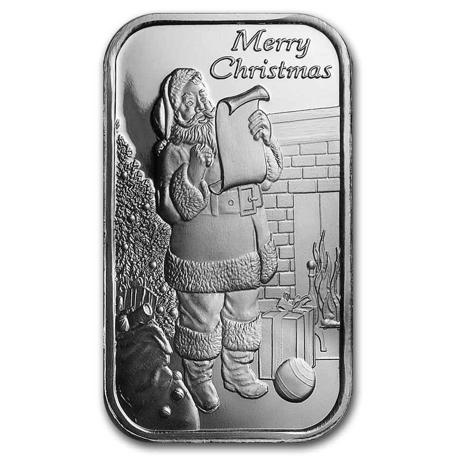 1 oz Silver Bar - Santa Claus (w/Green Pouch & Capsule)