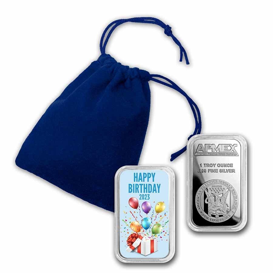 1 oz Silver Colorized Bar - APMEX (2021 Birthday Party)