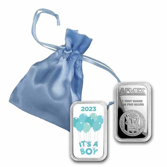 1 oz Silver Colorized Bar - APMEX (2021 It's A Boy)