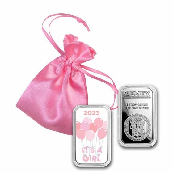 1 oz Silver Colorized Bar - APMEX (2021 It's A Girl)