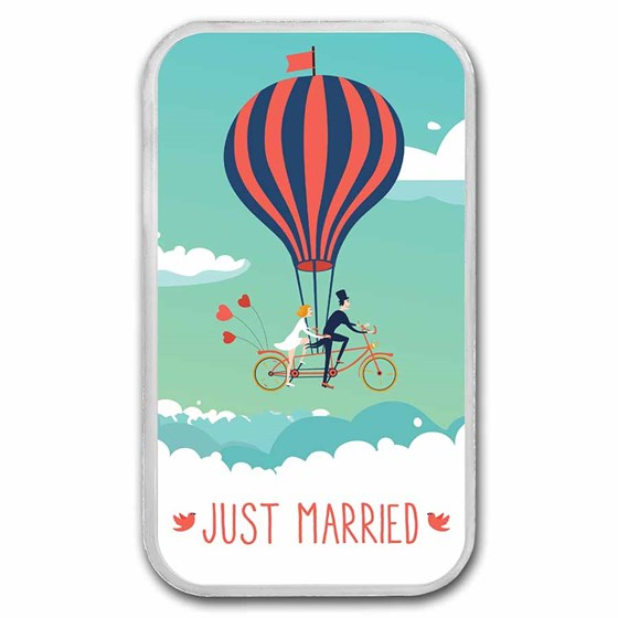 1 oz Silver Colorized Bar - APMEX (2021 Just Married - Balloon)