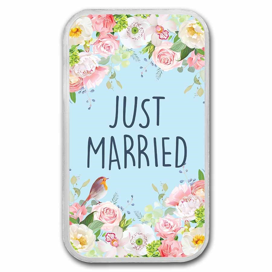 1 oz Silver Colorized Bar - APMEX (2021 Just Married - Flowers)