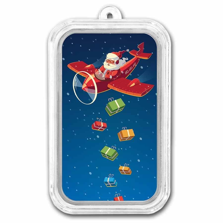 1 oz Silver Colorized Bar - APMEX (Airplane Santa)
