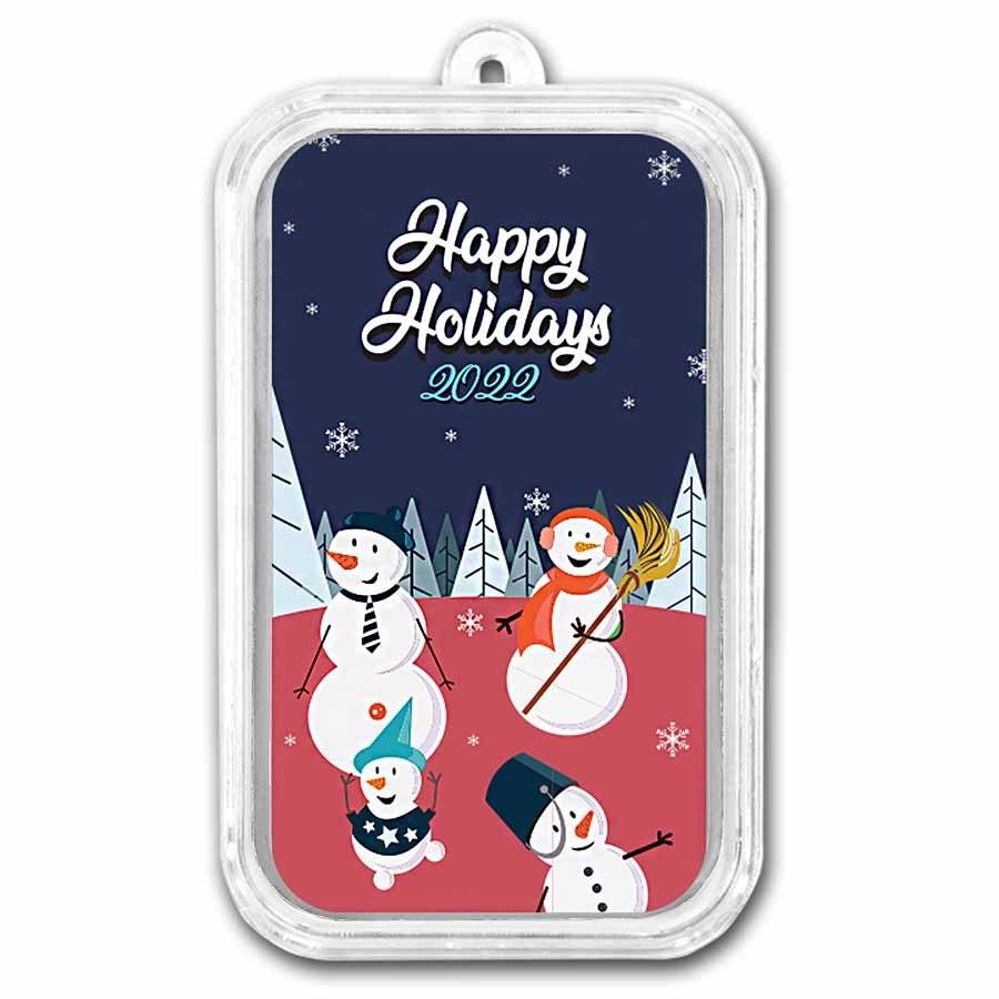 1 oz Silver Colorized Bar - APMEX (Cheery Snowmen)