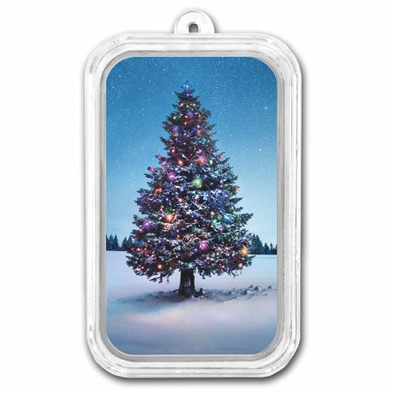 1 oz Silver Colorized Bar - APMEX (Christmas Tree)