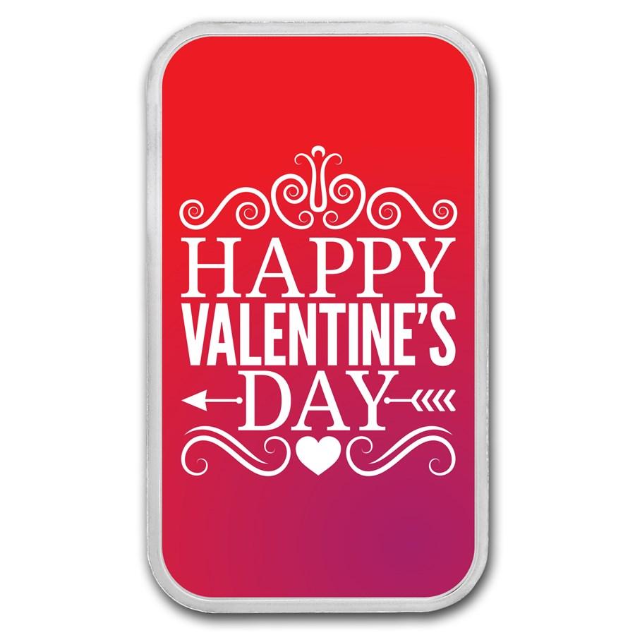 1 oz Silver Colorized Bar - APMEX (Classic Valentine's Day)
