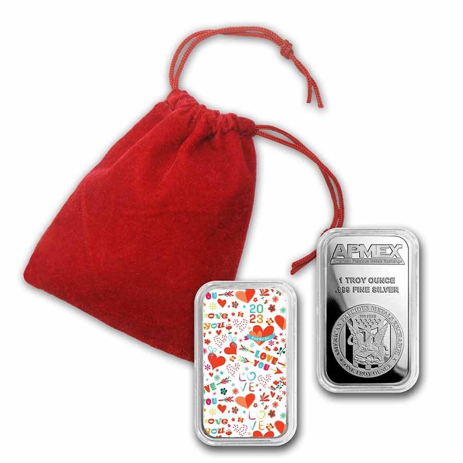 1 oz Silver Colorized Bar - APMEX (Confetti Love)