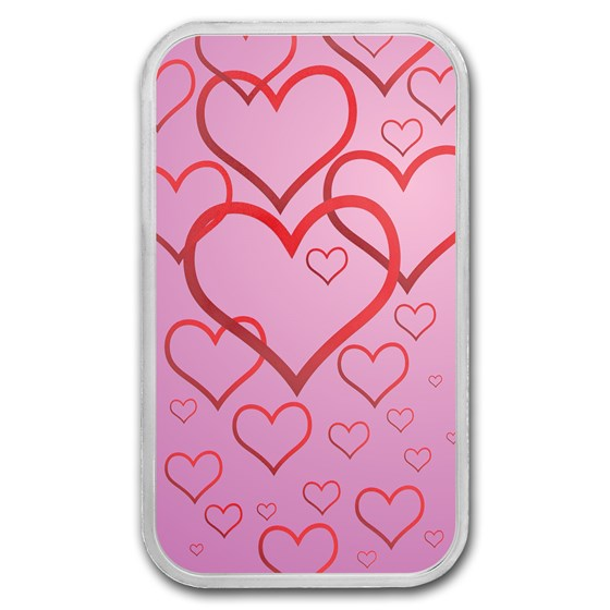 1 oz Silver Colorized Bar - APMEX (Floating Love)
