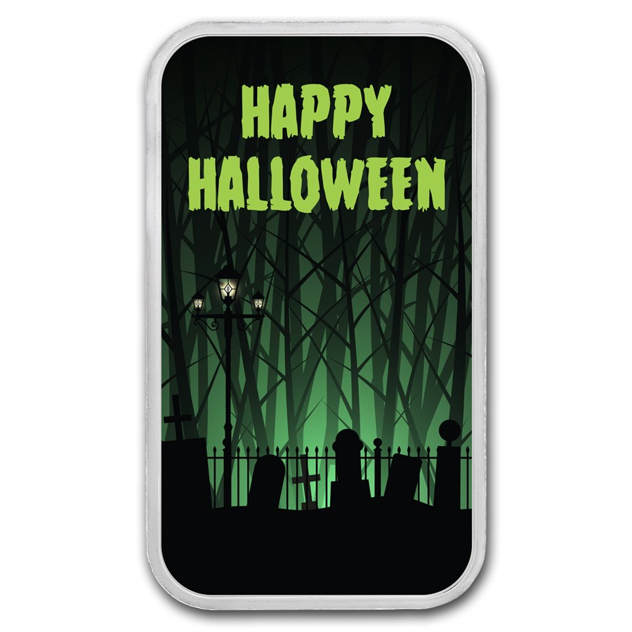 "1 oz Silver Colorized Bar - APMEX (Happy Halloween ""Graveyard"")"