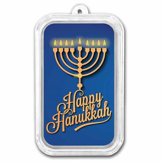 1 oz Silver Colorized Bar - APMEX (Happy Hanukkah)