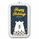 1 oz Silver Colorized Bar - APMEX (Happy Holidays Polar Bear)