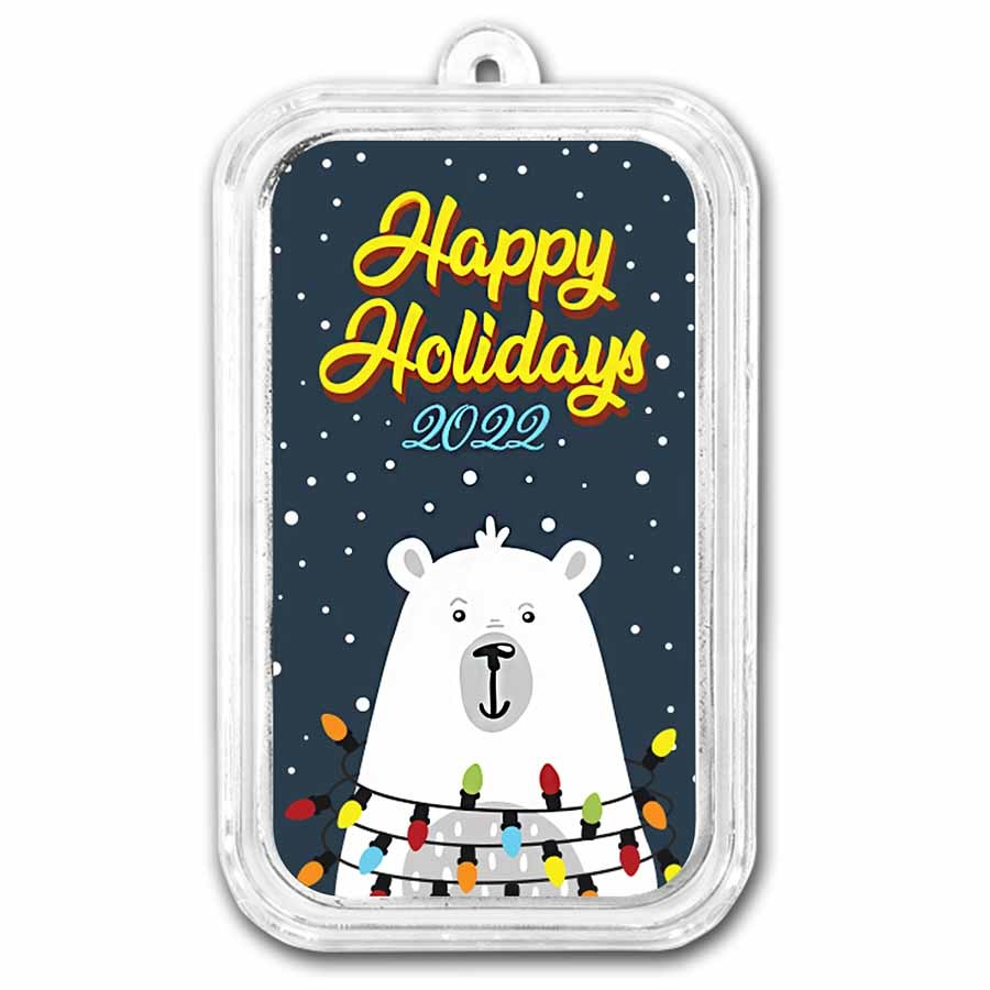 1 oz Silver Colorized Bar - APMEX (Happy Holidays Polar Bear)