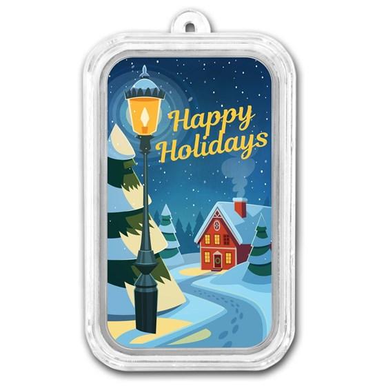 1 oz Silver Colorized Bar - APMEX (Happy Holidays Street Lamp)