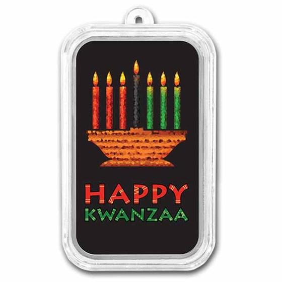 1 oz Silver Colorized Bar - APMEX (Happy Kwanzaa)