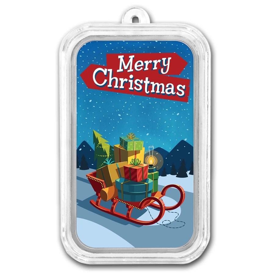 1 oz Silver Colorized Bar - APMEX (Merry Christmas Sleigh)