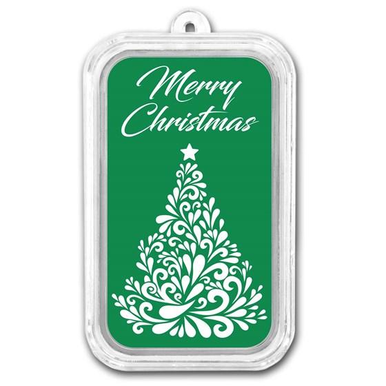 1 oz Silver Colorized Bar - APMEX (Merry Christmas Tree)