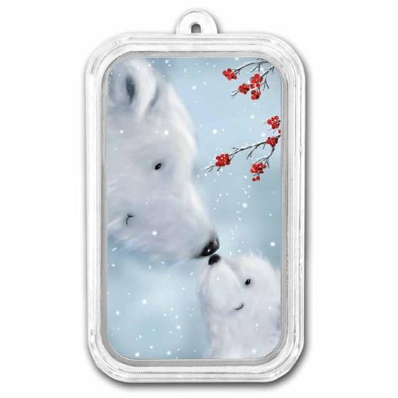 1 oz Silver Colorized Bar - APMEX (Polar Bears, Wintry Scene)