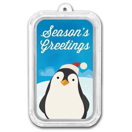 1 oz Silver Colorized Bar - APMEX (Season's Greetings Penguin)