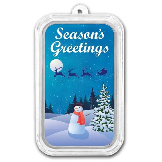 1 oz Silver Colorized Bar - APMEX (Season's Greetings Snowman)