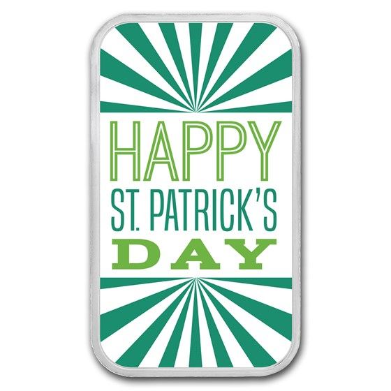 1 oz Silver Colorized Bar - APMEX (St. Patrick's Day Modern)