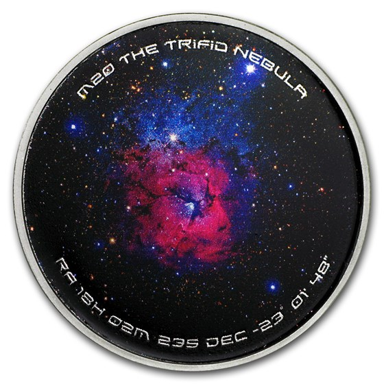 1 oz Silver Colorized Proof Spinner - M20 Trifid Nebula