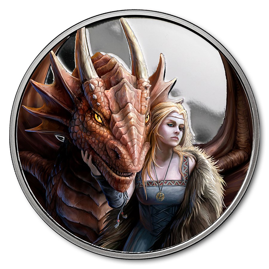 1 oz Silver Colorized Round - Anne Stokes Dragons: Friend or Foe