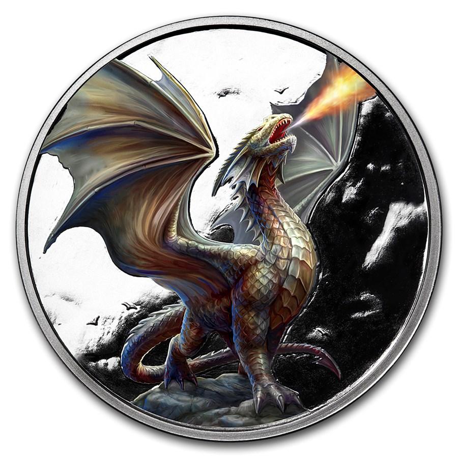 1 oz Silver Colorized Round - Anne Stokes Dragons: Noble Dragon