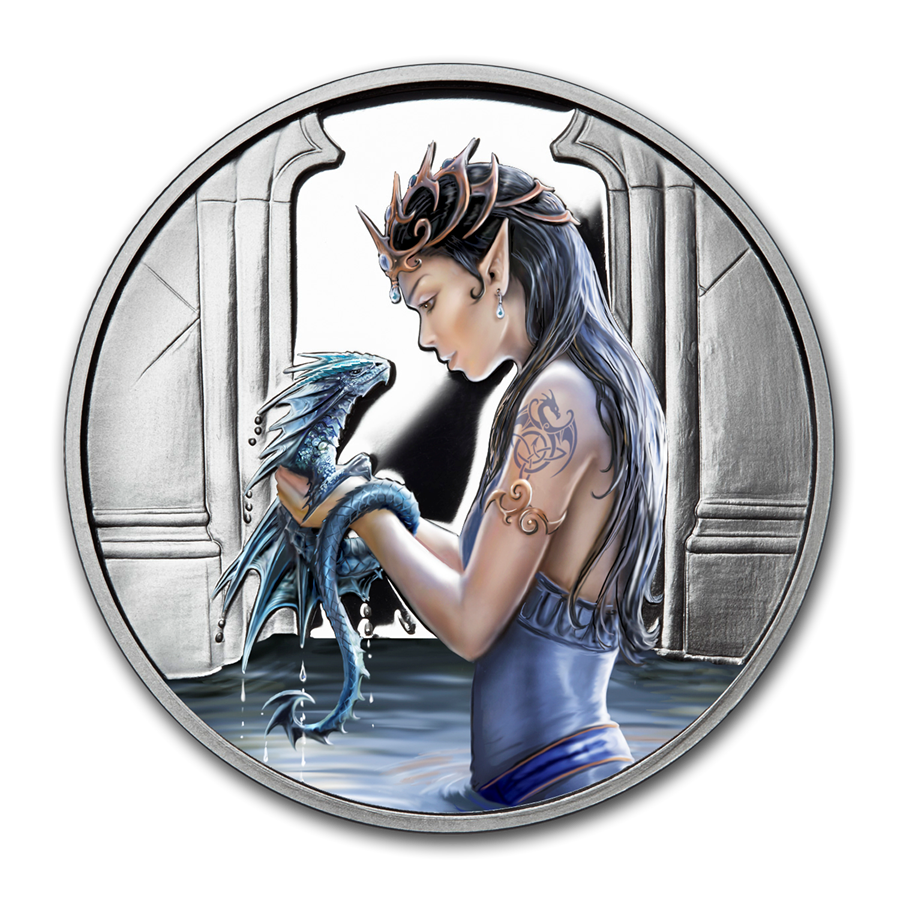 1 oz Silver Colorized Round - Anne Stokes Dragons: Water Dragon