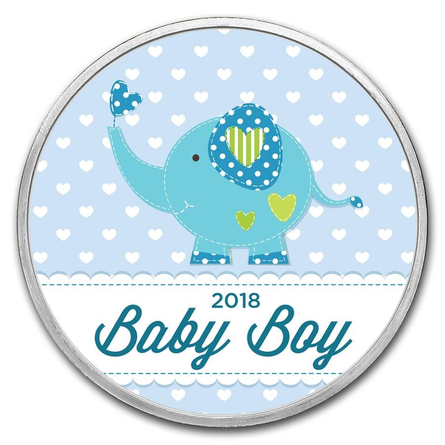 1 oz Silver Colorized Round - APMEX (2018 Baby Boy Elephant)