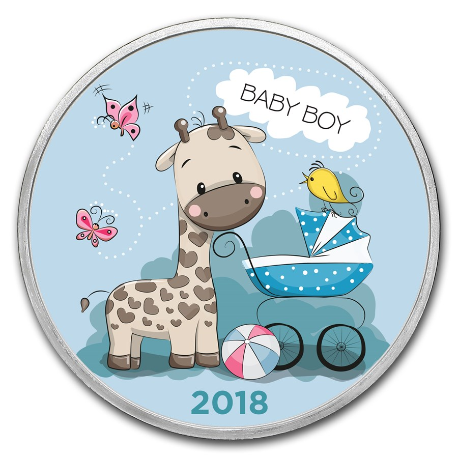 1 oz Silver Colorized Round - APMEX (2018 Baby Boy Giraffe)
