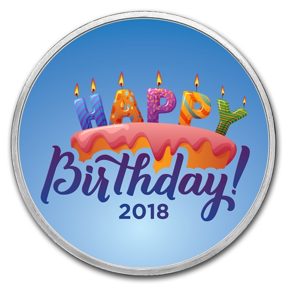 1 oz Silver Colorized Round - APMEX (2018 Birthday Candles)