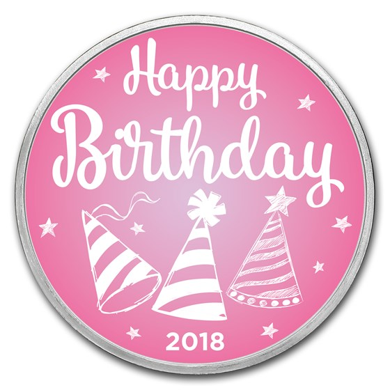 1 oz Silver Colorized Round - APMEX (2018 Birthday Pink)