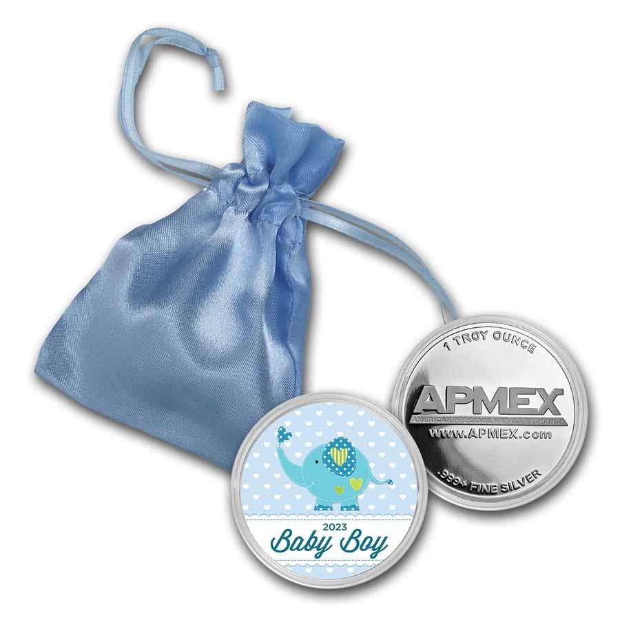 1 oz Silver Colorized Round - APMEX (2021 Baby Boy Elephant)