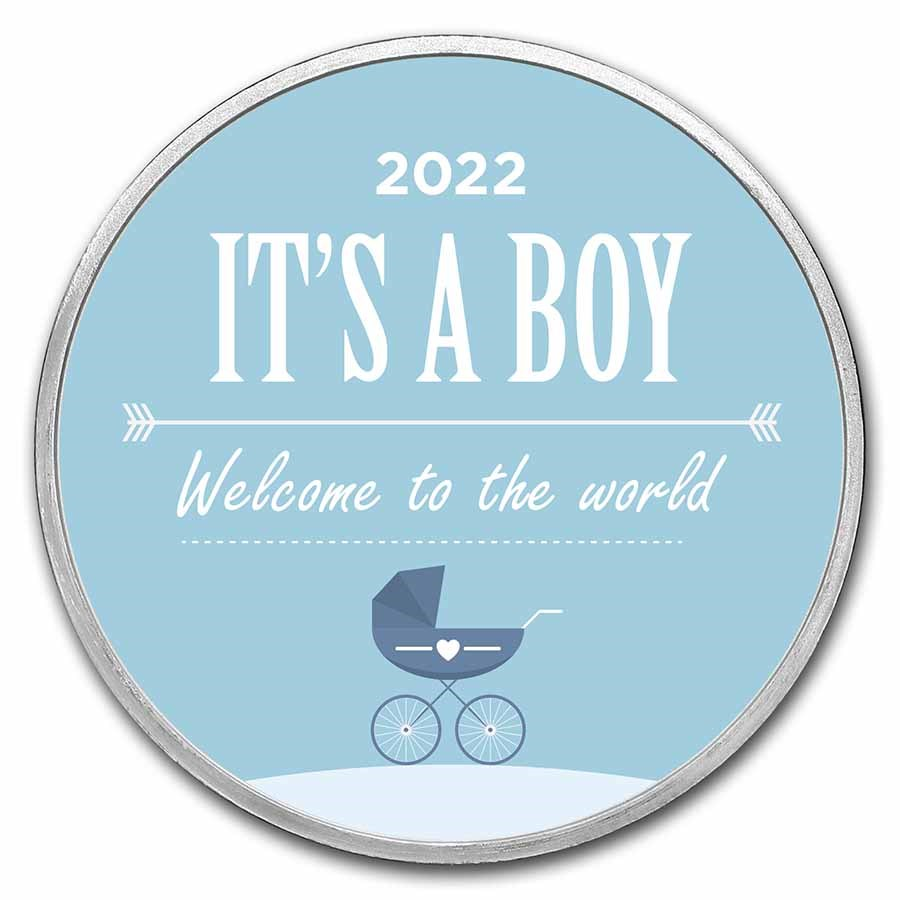 1 oz Silver Colorized Round - APMEX (2021 Baby Boy Stroller)