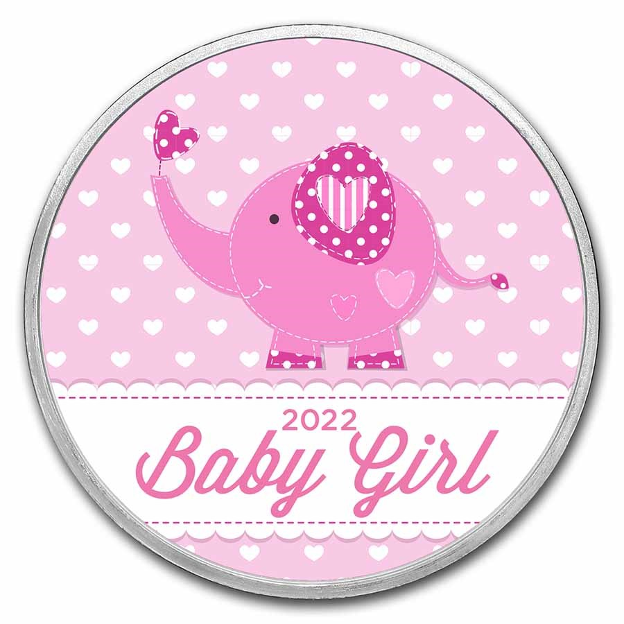 1 oz Silver Colorized Round - APMEX (2021 Baby Girl Elephant)