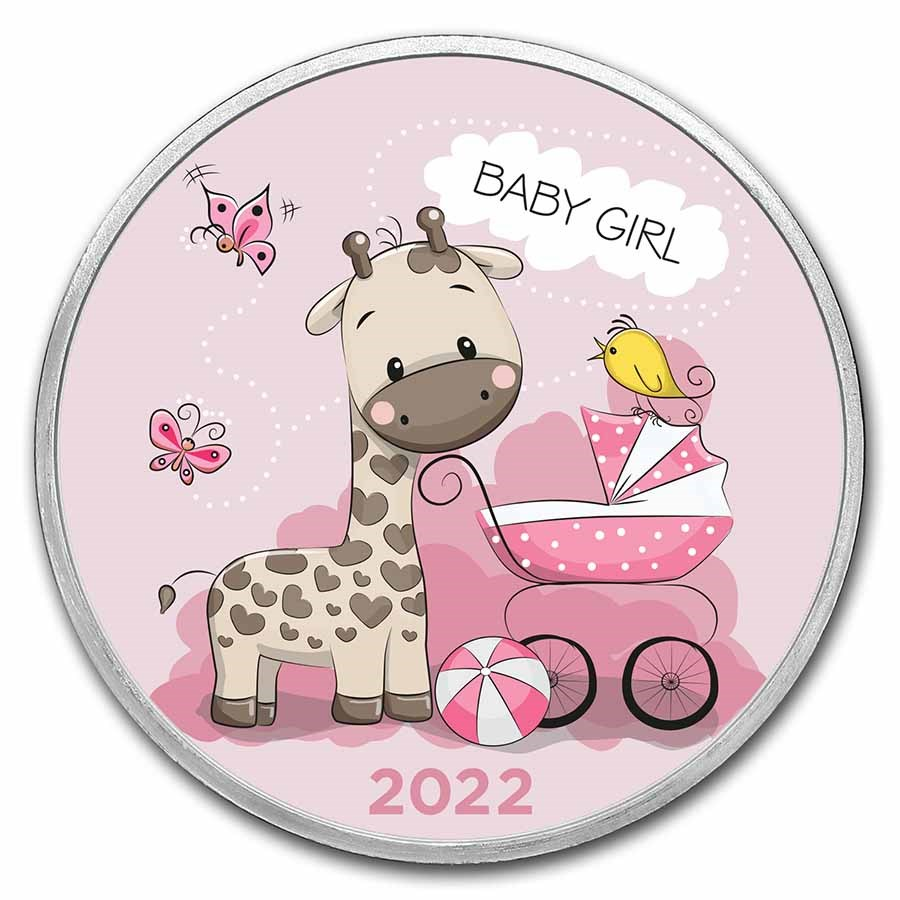 1 oz Silver Colorized Round - APMEX (2021 Baby Girl Giraffe)