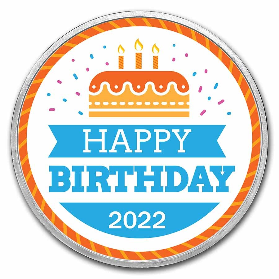 1 oz Silver Colorized Round - APMEX (2021 Birthday Cake)